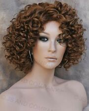 Human Hair Blend wig Short Corkstrew Very Curly Auburn mix Heat Safe mel 30/27