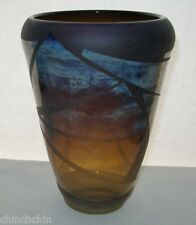 Extraordinary NEWCOMB Etched MODERN Designs GLASS VASE Signed 1980 IRIDESCENT