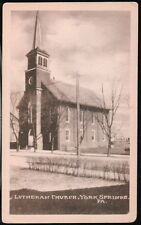 YORK SPRINGS PA Holy Trinity Lutheran Church Vtg B&W Postcard Early Town View PC