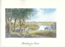 VINTAGE ART PRINT OF EARLY PICTURESQUE AMERICA - 1874 -PHILADELPHIA FROM BELMONT