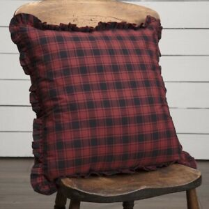 """VHC Brands Rustic 18""""x18"""" Plaid Pillow Red Cumberland Cotton Bedroom Decor"""