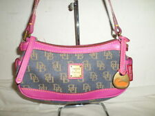 DOONEY AND BOURKE DENIM AND PINK LEATHER BAGUETTE