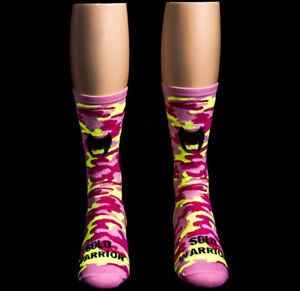 """Solo Warrior Men's 6"""" Compression Cycling Socks, Men's Size 8-12, Camo Pink"""