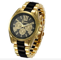 Luxury Men's Gold Tone Stainless Steel Band Watches Analog Quartz Wrist Watch