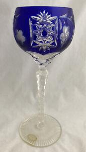 "NEW! AJKA MARSALA 8-3/8"" CASED CUT TO CLEAR COBALT BLUE HOCK WINE GLASS"