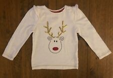 Mothercare White Christmas Reindeer Tshirt Top Glitter Antlers Age 18-24 Months