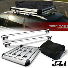 "50"" SILVER OVAL ADJUSTABLE ROOF RAIL RACK CROSS BAR+CARGO CARRIER BASKET+BAG G05"