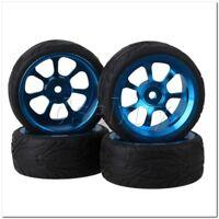 4x RC1:10 On Road Car Blue Alloy Wheels Rim 7-Spoke&Black Fish Scale Rubber Tyre