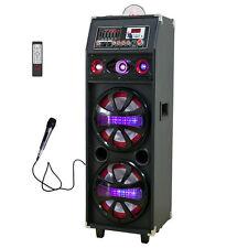 "Dual 10"" 4000w AC Powered DJ Party Speaker Bluetooth Outdoor Super Bass Lights"