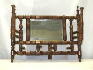 Victorian Fancy Oak Swing Arms Hanging Beveled Mirror & Hat - Wall Mount