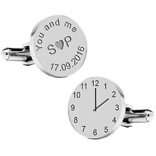 Personalised Silver Plated You and Me Wedding Time & Date Cufflinks Gift