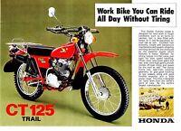 1976 HONDA CT125 Trail Farm Bike 2 page Motorcycle Sales Brochure NOS