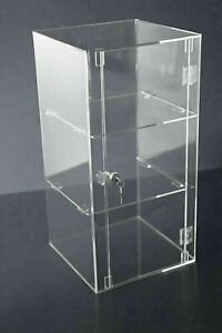 Display Cabinet 5mm Perspex Acrylic Lock 2 Keys & Removable Shelves Choices