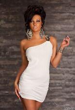sexy robe soirée blanche une epaule nu, l'autre bijoux taille unique