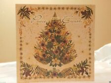Holiday Christmas Seasonal Card Joy Tree Floral Greeting Gift Post Vintage