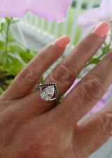 Pear Cut White Topaz W/Black Spinel Infinity  Ring, Sterling silver, Size 7