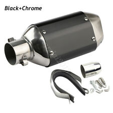 Universal 38-51mm Black+Chrome Motorcycle Short Exhaust Muffler Silencer Pipe