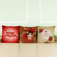 Christmas Cotton Linen Sofa Throw Pillow Case Car Cushion Cover Home Decor Gift