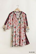 UMGEE Blush Mix Floral Print Mandarin Collar Puff Sleeve Dress