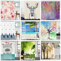 Shower Curtains Waterproof Fabric Bathroom Shower Curtain with 12pcs Hooks Decor