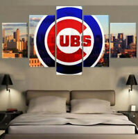 Chicago Cubs Baseball City 5 pcs Painting Printed Canvas Wall Art Home Decor