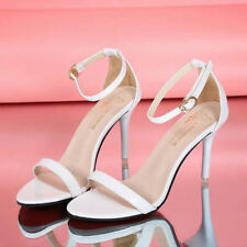 UK WOMENS HIGH BLOCK STILETTO HEELS ANKLE STRAP SANDALS OPEN TOE PARTY SIZE 2~5