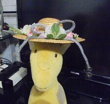 Jolie ancien Chapeau de Poupée en Paille Tressée Fleurie Tissus