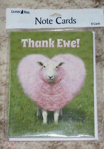 "LEANIN TREE ""Thank Ewe""~Plump Pink Heart Sheep #35546~8 Notecards~Blank Inside~"