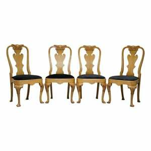 STUNNING SET OF FOUR WALNUT QUEEN ANNE DINING CHAIRS ACANTHUS LEAF CARVED WOOD