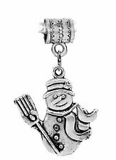 Snowman Christmas Holiday Winter Dangle Charm for Silver European Bead Bracelets