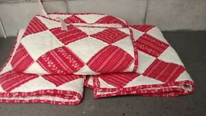 3 pc Lot/Set Pottery Barn Patchwork/Quilted Standard Shams Red/White VG NICE