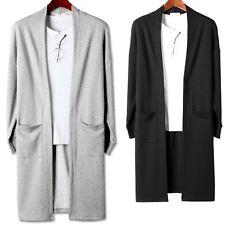 New Mens Stylish Knit Long Cardigan Sweater Jumper Blazer Jacket Coat Tops W070