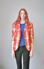 Vintage 1970s Jacket Red Blue Green Yellow Plaid Mod Blazer Gold Buttons
