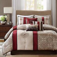 Madison Park Donovan King Size Bed Comforter Set Bed In A Bag - Taupe, Burgundy