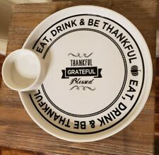 Ciroa Give Thanks Serving Platter Tray Porcelain Thanksgiving