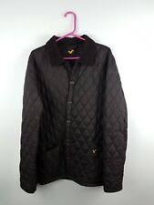 MENS BLACK BUTTON-UP VOI JEANS QUILTED PADDED JACKET COAT UK L