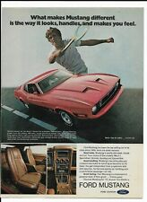 1973 Red FORD MUSTANG MACH 1 Print Ad ~ looks, handles, and makes you feel!