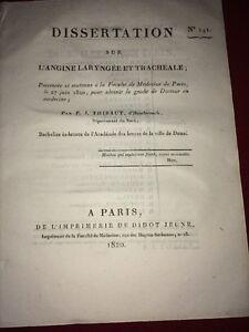 DISSERTATION SUR L'ANGINE LARYNGÉE ET TRACHÉALE, 1820.