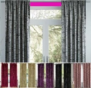 PREMIUM Crushed VELVET Curtains Pair of Eyelet Ring Lined Thermal Black Out Gift