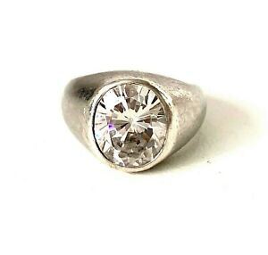 Solid Sterling Silver Sparkling Glitz SIGNET STYLE Ring : UK: O - In Gift Box