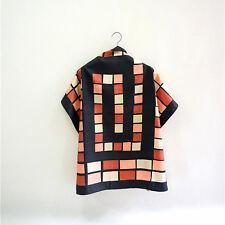 Vintage 100% pure silk printed red black women men sqaure scarf P702486