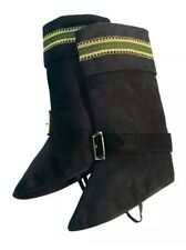 Forum Deluxe Santa Claus Faux Suede Boot Tops Spats, Black, One-Size