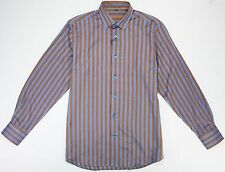 Visconti Mens Medium M Orange & Blue Herringbone Long Sleeve Button Up Shirt NWT