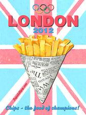 London 2012 Olympics Bag of Chips Retro Food British Metal Sign