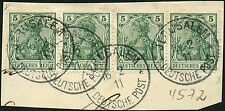 21/DP Türkei 1911 Germania 5 Pf Mitläufer 4x ° Jerusalem Briefstück Geprüft BPP