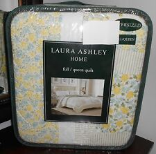 NEW LAURA ASHLEY Home ELYSE Patchwork QUEEN Quilt 100% Cotton Blue green white