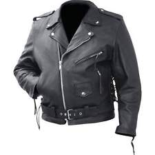 Mens  Classic  Black Leather Motorcycle Biker Jacket Zip outlining Side Lace