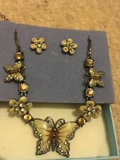 Butterfly and flowers enamelled necklace and earrings jewellery set cream
