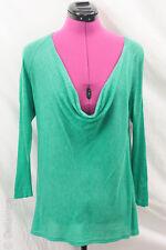 Eileen Fisher Green Silk Linen Lightweight Cowl Neck Sweater Knit Top Sz M VGUC
