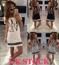 Womens Love Printed Short Mini Dress Summer Beach Long Tops T Shirt Size 6-18